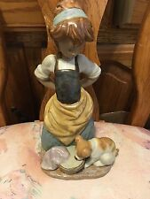 Lladro 2096 Kitchen-Maid with Dog, Mint Condition! Gres Finish! No Box!