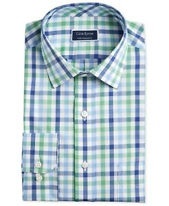 Club Room Men's Regular-Fit Gingham Dress Shirt, Blue/Green, 18, 34/35