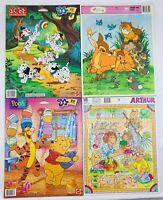 1990's Frame Tray Puzzles Disney 101 Dalmatians, Winnie the Pooh, Bambi, Arthur
