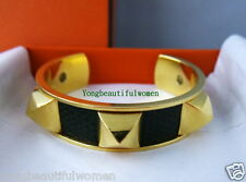 Authentic Hermes Medor Gold & Dark Green Lizard Leather Bangle Bracelet