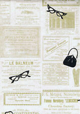 Womens Purse, Shoe, Glasses on Old Advertising Wallpaper - Tan  - PA5656