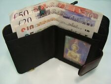 Leather Purse Wallet with Three Section for Note Change and Credit Cards