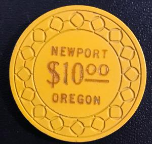 RARE $10 BARGE INN CASINO CHIP POKER CHIP NEWPORT OREGON 1980's CLASSIC GD