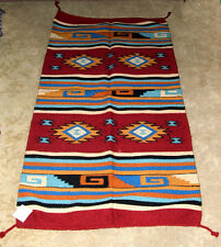 "Thick Hand Woven Wool Throw Rug / Tapestry Southwestern  32""x 64""  423"