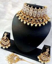 Indian Bollywood Style Gold Plated Pearl Choker Necklace Jhumka Earrings Set