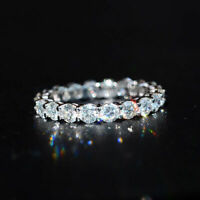 Certified 2.00Ct Round Diamond Full Eternity Engagement Band 14K White Gold Over