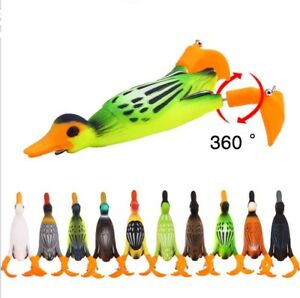 Little duck floating soft fishing lure with propeller fins 11.2g 95mm- 10 colors