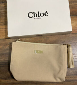 Chloe Parfum Makeup Cosmetic Bag Cream Gold Zipper Tassel