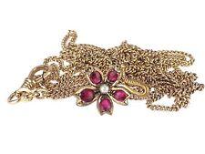 Jugendstil Gold Doublé Saat Perle Granat Almandin Taschenuhren 110 cm Kette