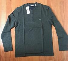 Mens Authentic Lacoste Cotton LS Henley T-Shirt Olive Green 4 Medium $98