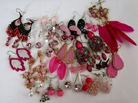 HUGE SELECTION OF *PINK* DANGLE EARRINGS CRYSTAL PEARL FEATHER BOLLYWOOD NEW
