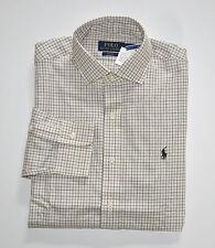 NWT Men's Polo Ralph Lauren Casual Long-Sleeve Shirt, Cream, Gray, S, Small