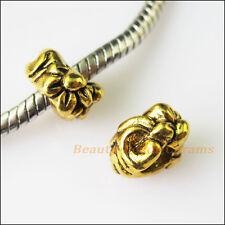 12Pcs Antiqued Gold Flower Spacer Beads fit European Charm Bracelets 10mm