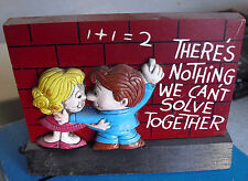 Vintage Wallace Berrie Wood Boy and Girl on Wall Figurine