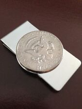 US JFK John F. Kennedy half dollar coin (EAGLE tails side) money clip stainless