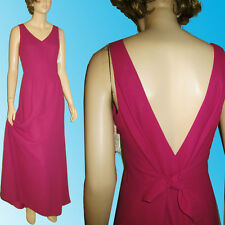 New NICOLE MILLER Swishy PROM DRESS $300 Low TIE BACK & Sexy Bodice 6 Fushia