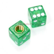 (2) Clear Green Dice Old School BMX Tire Stem Valve Caps Covers