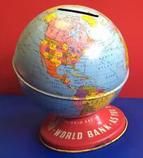 Old Vtg Collectible The Ohio Art Co. World Globe Tin Bank
