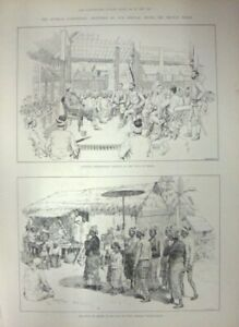 ANTIQUE WOOD ENGRAVING BURMA / Burmah Expedition Sketches By Our Special Artist