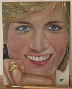 "Princess Diana Portrait Oil Painting David Ferrero Original 10x8"" 3mm MDF"