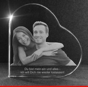 Glasfoto Glasherz mit Wunschfoto / Wunschtext Gravur 60x60x19mm