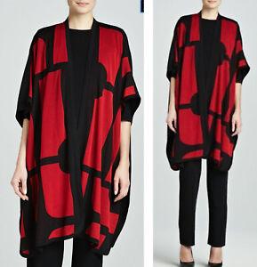 MISOOK Size 1X Fiona Brocade Cardigan Kimono Black Red Geometric Art to Wear