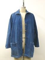 Vintage Catalina Blue DENIM Button Down Barn Coat Jeans Women's SZ 14 USA Made
