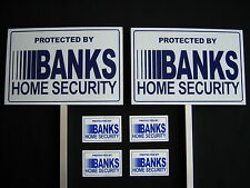 2 BANKS SECURITY SIGNS + 4 DECALS  - 2 STAKES ..#PS-413