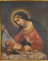 VIERGE MARIE AVEC JESUS. HUILE PEINTEE SUR TAPIS. ANONYME. XIX-XX SIECLE.