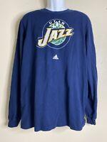 Adidas Men Size XL Blue Utah Jazz T Shirt Long Sleeve Nba Basketball