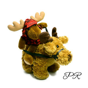 Canada Moose Riding A Reindeer Plush Soft Stuffed Toy Washed and Clean 18cm
