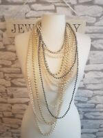 Faux Pearl Multi Strand Long Statement Necklace costume jewelry Gatsby