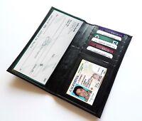 Black Genuine Cow Leather Solid Checkbook Cover Organizer Wallet Men Women