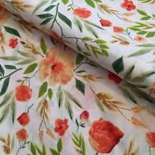 Meadow flowers green orange 100% cotton fabric printed kids width 160cm