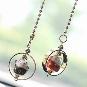 Lucky Cat Car Hanging Pendant Charm Good Luck Wealth Safety