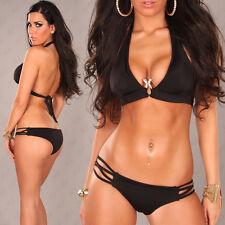 Halter Neck Push-Up Bikini with Snake Buckle Black Size Size 6 - 8  ❤ Free Post!