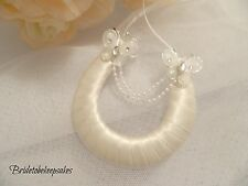 WEDDING BRIDAL HORSESHOE CHARM IVORY  BUTTERFLIES & PEARLS-FREE GIFT POUCH