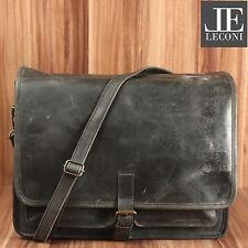 LECONI große Aktentasche Messenger Bag Ledertasche Unisex Leder grau LE3014-wax