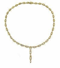 "Judith Ripka Diamond ""Y"" Drop Tennis Necklace 7.73ct TW 15.5 Inches w/Box"