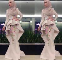 Muslim Mermaid Long Prom Dresses Long Sleeve Formal Party Evening Dress Custom