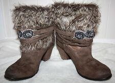 Naughty Monkey Brown Faux Fur Boot Ladies Fashion Jeweled Heels Sz 8.5