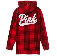 Victoria's Secret Pink Polar Fleece Campus Pullover Hoodie Red Plaid Size L NWT