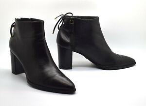 B5 Auth STUART WEITZMAN Gardiner Black Leather Tie Back Bootie Shoes Sz 7 M $650