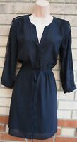 H&M BLACK HALF BUTTONED BELTED LACE LONG SLEEVE SHEER A LINE TEA DRESS 8 S