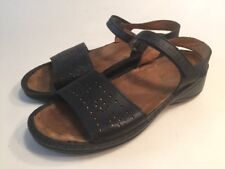 Naot Black Perforated Leather Sandals Size EU 41 US 10 Adjustable Hook And Loop