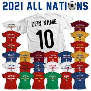 EM 2021 Europameisterschaft Fußball alle Länder Fan Trikot T-Shirt Name & Zahl