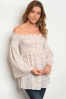 Misses Blush Floral Long Bell Sleeve Smocked Off Shoulder Blouse SZ Medium NWT