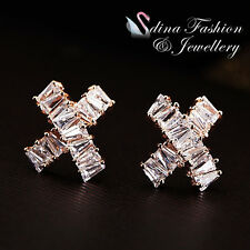 18K Rose Gold Plated CZ Channel-Set Baguette Delicate Crossover Stud Earrings