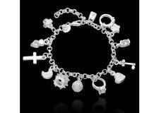 Bracelet Silver Charm Bangle 925 Sterling Silver Filled Fashion Jewellery Heart