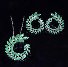 18K White Gold GF Round Pendant Necklace Earrings w/ Swarovski Crystal Green